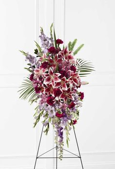 Send your condolences with funeral flowers. Wreaths, crosses, baskets as well as large standing funeral sprays and casket sprays. Casket Flowers, Funeral Flowers, Grave Flowers, Funeral Floral Arrangements, Flower Arrangements, Funeral Caskets, Funeral Sprays, Peruvian Lilies, Casket Sprays
