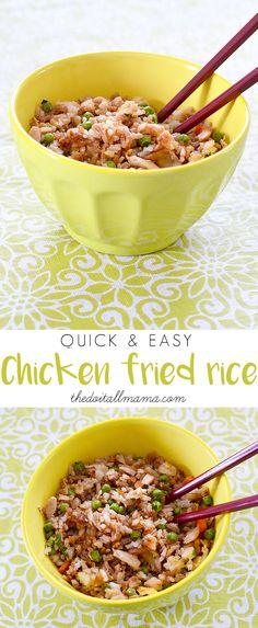 This chicken fried rice is perfect for those 'not enough time to focus on dinner, flying by the seat of your pants' days. Potluck Recipes, Side Dish Recipes, Easy Dinner Recipes, Cooking Recipes, Healthy Recipes, Delicious Recipes, Easy Recipes, One Pot Meals, Main Meals