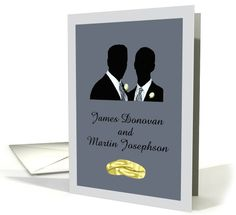 Custom Gay Wedding Invitation - Wedding Rings & Silhouettes from Kreative Sentiments. http://www.greetingcarduniverse.com/collections/gay-lesbian/greeting-card-1130096?aid=222657