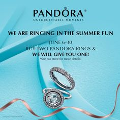 What statement is your ring stack making today? Visit us June 6th through the 30th to create the perfect ring stack for you or someone special. Buy any two PANDORA rings and we'll treat you to a third! #pandora #ringpromo #ringinsummer #buytwogetonefree #reneesofsharyland