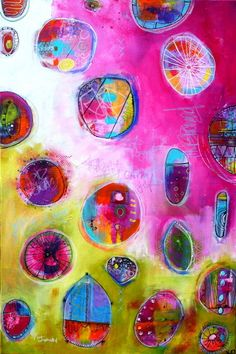 Stunning Funky Contemporary Abstract Bright Colors Pods by JodiOhl, New art in the shop today!