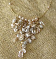 Light Pink Keishi Pearls with Swarovski Crystal in 14K by MoonYee, $85.00