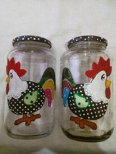 Potes de Vidro decorados - Galinha