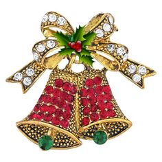 this christmas bells design brooch pin is made of gold toned metal and set with multi color rhinestonescrafted in base metal alloy gold tone - Christmas Pins