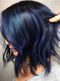 34 awesome deep blue hair color ideas for gorgeous list of deep blue hair colors ideas that we are going to share in this post of content. Pretty Hair Color, Hair Color For Black Hair, Short Hair Colour, Hair Color Ideas For Brunettes Short, Corte Y Color, Hair Color Balayage, Blue Hair Highlights, Pretty Hairstyles, Hairstyle Ideas