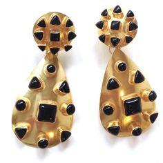 Vezoora Double Gold Earrings -  Black Onyx Vezoora double gold plated earrings with  smallblack onyx gemstones.