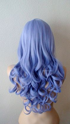 Airy blue fashion hairstyle wig for daily use or Cosplay Light blue Ombre wig. Dark roots Pastel silver blue by kekeshop Blue Ombre Wig, Blue Wig, Dyed Hair Blue, Ombre Hair Dye, Violet Hair, Curly Hair Styles, Long Curly Hair, Short Hair, Short Lilac Hair