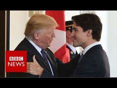 "Trump-Trudeau handshake, close up - not sure where this ""Trudeau is so hot"" comes from, he has a chin like a drawer and too wide face. the only thing that makes outstanding, is his age."