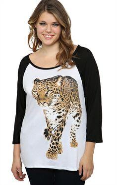 Plus Size Raglan Top with Walking Cheetah Screen