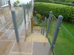 Details about Toughened Glass Panels - Balustrade / Railing / Staircase / Landing Glazing Garden Railings, Patio Railing, Garden Fencing, Railing Ideas, Fence Ideas, Patio Ideas, Brick Fence, Concrete Fence, Front Yard Fence