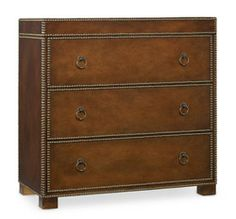 Three Drawer Chest - By Hooker FurnitureThree Drawer Chest BACK  5232-85001		57 of 69   First   < Prev     Next >   Last  Three drawers   Hardwood Solids with Leather and Nailheads *    Dimensions: 36 1/4 x 18 1/4 - 36 1/4 H Weight: 140.80 lbs. Volume: 20.12 cu. ft. UPC: 793532255672
