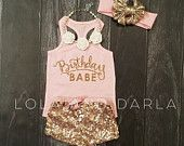 Birthday Babe Infant baby girl tank top with gold sparkle