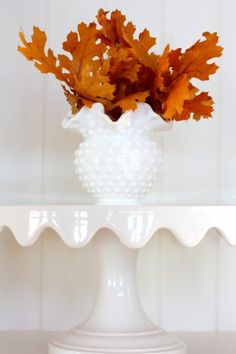 Milk glass and fall colors - who knew they could work together