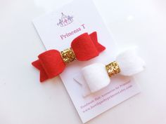 Girls/ Baby Mini Felt Bow Felt Bow w/ Gold by BowtiquebyprincessT, $6.90