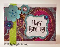 Use some of the leftovers from your CTMH Workshops on the Go® Laughing Lola Cardmaking Kit, add some Blase and Bing embellishments, and make this pretty Happy Birthday card with your new Artbooking Cricut cartridge! via CardsByStephanie.com