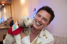 Here's the second @johnscotbarrowman photo I promised. This pup was a little bit forward and went straight in for a smooch. @dogstrust @peoplespostcodelottery #glasgow #panto #pantomime #dogstrust #dogsofinstagram #arrow #torchwood