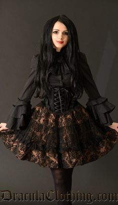 New Fantasy Imported Fresh From The Other World Dracula Clothing buy it at http://draculaclothing.com/index.php/brown-brocade-skirt-p-1231.html