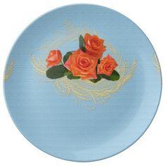 Peach Roses on Vintage Blue Porcelain Plate