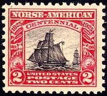 U.S. postage stamp featuring the ship Restauration issued in honor of the 100th anniversary of Norwegian immigration
