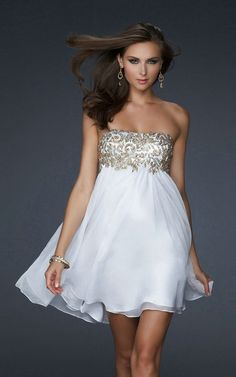 Charming and Elegant Strapless Sleeveless Empire Ruched Short Appliques Fashion White Cheap Homecoming Dresses HD-1114 - Cocktail Dresses - Special Occasion Dresses