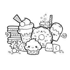 Kawaii Food Doodle Free Printable Coloring Page Cute Doodle Art