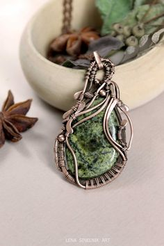 Serpentine Copper necklace Wire wrap by LenaSinelnikArt on Etsy
