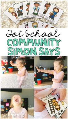 Work on gross motor and listening skills with this Simon Says game. Perfect for a community theme in tot school, preschool, or the kindergarten classroom.