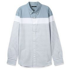 Topten10 Unisex Oxford Buttondown Unique Mint Green Striped Cotton Dress Shirts #Topten10