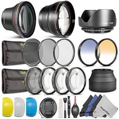 58MM Essential Accessory Kit for CANON EOS REBEL (T6i T6s T5i T4i T3i T3 T2i T1i XT XTi XSi SL1) - Includes: Altura Photo 0.43x Wide Angle & 2.2x Telephoto High Definition Lenses + Vivitar Filter Kit (UV, CPL, ND8) + Vivitar Macro Close-Up Set + Collapsible Lens Hood + Tulip Lens Hood + Center Pinch Lens Cap + 2 Color Filters + Flash Diffuser Set + Deluxe Cleaning Kit with MagicFiber Microfibers Goja http://smile.amazon.com/dp/B004VC4LUS/ref=cm_sw_r_pi_dp_EX36vb1QGQR4H