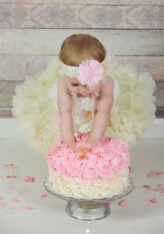 Baby girl first birthday outfit 4 piece set! Set includes: our super fluffy petti skirt, lace romper, headband and signature pearls Perfect for THE PARTY. For this adorable outfit, we paired our soft ivory lace romper wi