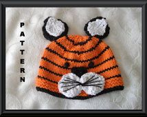 Hand knit Tiger hat - ALL Sizes - Baby, Toddler, Child, Teen, Adult sizes P...