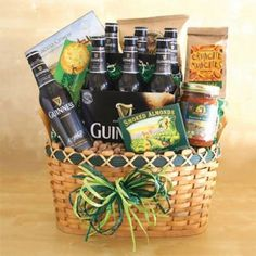 Imported Irish beer basket gift for men for a special occasion or no occasion at all. Guinness gift beer basket is an excellent gift for the beer lover! Themed Gift Baskets, Wine Gift Baskets, Raffle Baskets, Beer Gifts, Gifts For Wine Lovers, Guinness Gifts, Beer Basket, Irish Beer, Auction Baskets