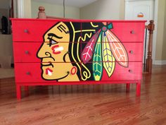 i wan that so bad my dresser sucks compared to that awesomeness Hockey Crafts, Hockey Decor, Blackhawks Hockey, Chicago Blackhawks, Hockey Bedroom, Man Cave Home Bar, Pallet Art, Wood Canvas, My New Room