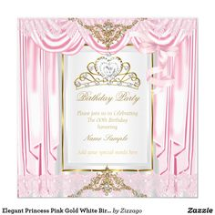 Elegant Princess Pink Gold White Birthday Party Card Elegant Princess Birthday Party. Pink Gold and White Silver Silk Satin Curtains. With a Pink Bow, Gold Diamond pearl gem Tiara. Pretty Pink White Birthday Party. Princess Party for Women and Girls. Invitation for Formal Occasions for any event invitation. Customize to change or add details. All Occasions Elegant Elite Events Party Invites for all ages, just customize to the age you want! Affordable and classy! Zizzago created this design…