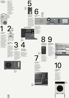 The Ten principles of Good Design by Dieter Rams - a seven colour poster celebrating fifty years of business for Vitsœ, the producer of Dieter Rams' unsurpassed 606 shelving system. The ten principles are illustrated by products designed at Braun by  Rams and his colleagues (including the superlative ET66 calculator by Dietrich Lubs). The illustrations are a hyperreal synthesis of graphics  and photography. - by Bibliothéque