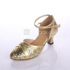 ab237f90df164 Chaussures de danse (Argent Or) - Non personnalisable - Gros talon - Cuir