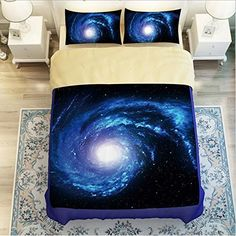 LELVA Galaxy Bedding Set Galaxy Duvet Cover Set Kids Bedding for Boys Teens Bedding Full Queen Size (1, Twin)