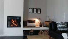 """modern fireplace with stove bench """"I& happy since it& cooler outside . modern fireplace with stove bench """"Since it is cooler outside, I am happy every day about the nice Paint Fireplace, Home Fireplace, Modern Fireplace, Brick Fireplace, Modern Tv Room, Font Design, Home Living Room, Home Renovation, Family Room"""