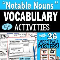 Vocabulary Activities - Notable Nouns