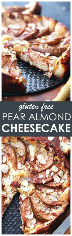 This Pear Almond Cheesecake provides a delightful burst of flavors and it's gluten free! Probably the best cheesecake I have ever made! Get the recipe at diethood.com