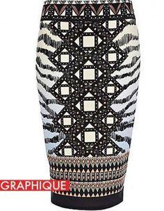 buhzazz print skirt, so chic with a gauzy black blouse