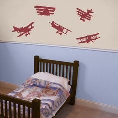 Air Show - Set of 5 - Airplane Wall Decals For Xavier