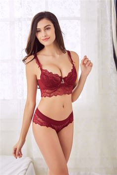 15b478ad741 2017 New Lace bra set 32-42 ABCD Bra and Panty Sets Red Push Up