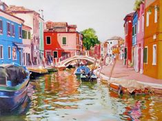 BURANO 1 Painting by Leopoldo G Andrades | Saatchi Art Cadiz Spain, Parallel Lives, Original Paintings, Original Art, Boat Fashion, Wood Detail, Artwork Online, Blue Tones, Saatchi Art