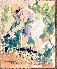 Aquarelle d'André Dunoyer de Segonzac, Colette vendangeuse, 1929 (coll.part)