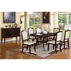 Gebze 7 Pieces Dining Set in Espresso Finish