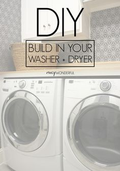 "DIY built in washer + dryer - Crazy Wonderful Outstanding ""laundry room stackable washer and dryer"" detail is offered on our website. Laundry Dryer, Laundry Closet, Laundry Room Organization, Small Laundry, Laundry Room Design, Laundry Rooms, Hidden Laundry, Household Organization, Storage Organization"