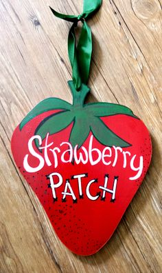 """Painted Sign""""Strawberry Patch"""" 12.5x10.5 Wood by AmyKsKreations on Etsy"""