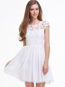 White Short Sleeve Hollow Floral Crochet Pleated Dress - Sheinside.com
