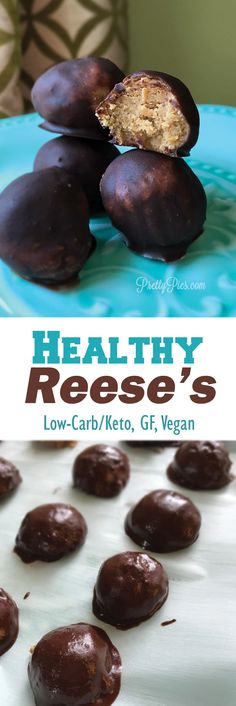 Healthy Reese's! These guilt-free peanut butter cups are so easy to make. And low carb/keto (no sugar!) #vegan #keto #healthydesserts from PrettyPies.com